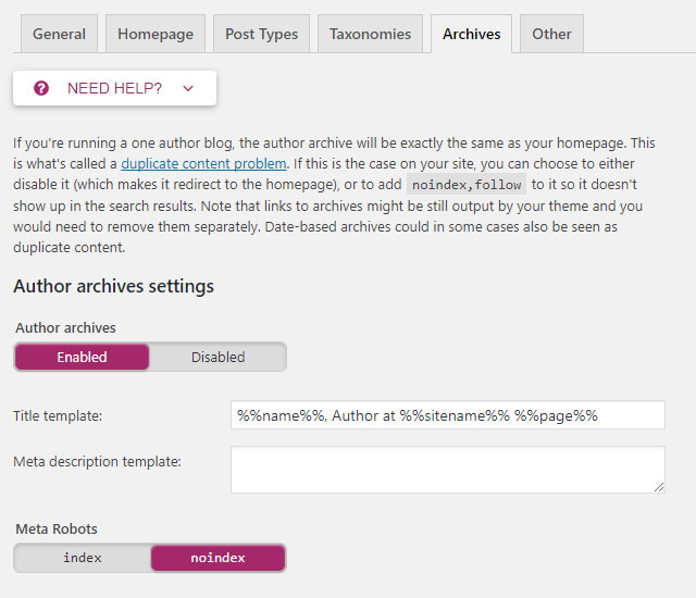 Screenshot of the Yoast plug-in showing the Archives tab in the Titles and Metas section