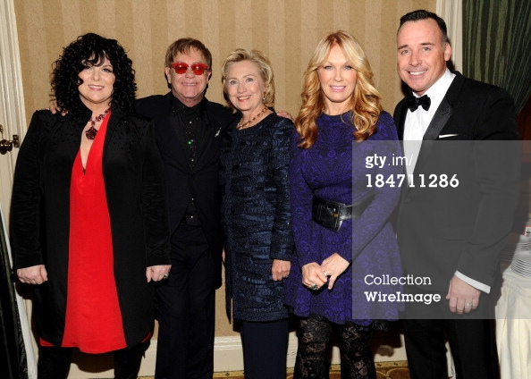 NEW YORK, NY - OCTOBER 15: (Exclusive Coverage) Ann Wilson, Elton John, Hillary Rodham Clinton, Nancy Wilson and David Furnish attend the Elton John AIDS Foundation's 12th Annual An Enduring Vision Benefit at Cipriani Wall Street on October 15, 2013 in New York City. (Photo by Kevin Mazur/WireImage)