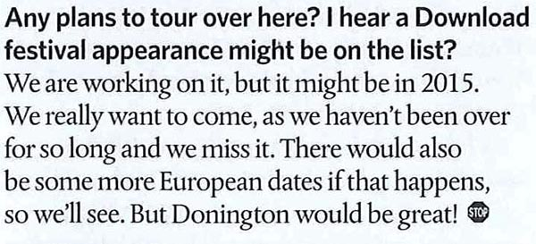 The standard question from any European magazine!
