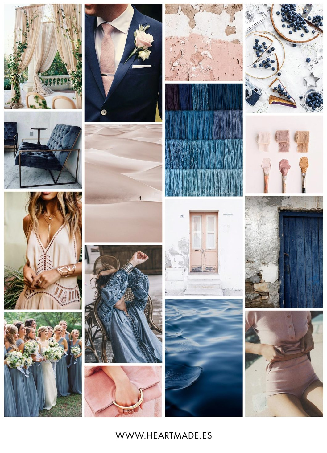 Inspirational moodboard combining Pale Dogwood with Niagara - my favorite colors from Pantone Spring 2017 selection!