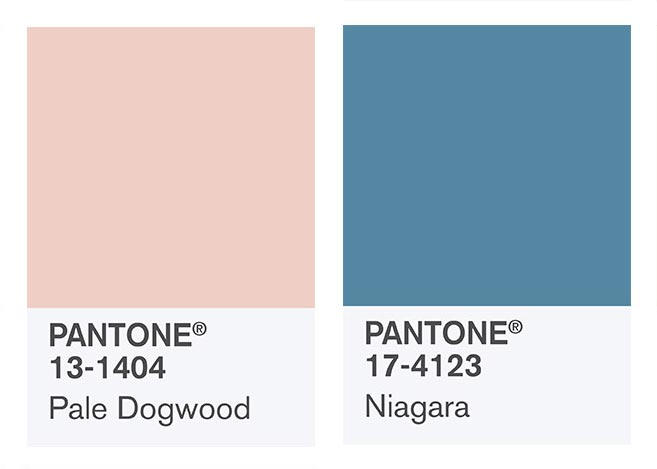 Combining Pale Dogwood with Niagara - my favorite colors from Pantone Spring 2017 selection!