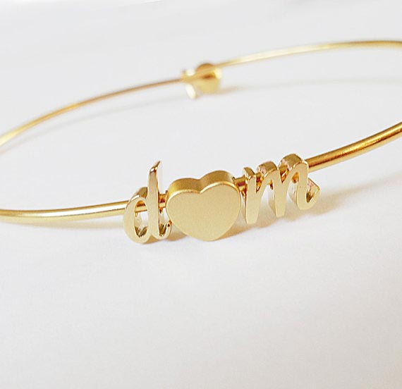 Valentines Day Promo: Initial Bangle Gold Cursive Initial heart Bangle Bracelet Script Lowercase,Valentines day Gift.Bridesmaid Gift Wedding Minimalist