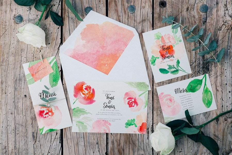 watercolor wedding invitations by Lovers Love Loving