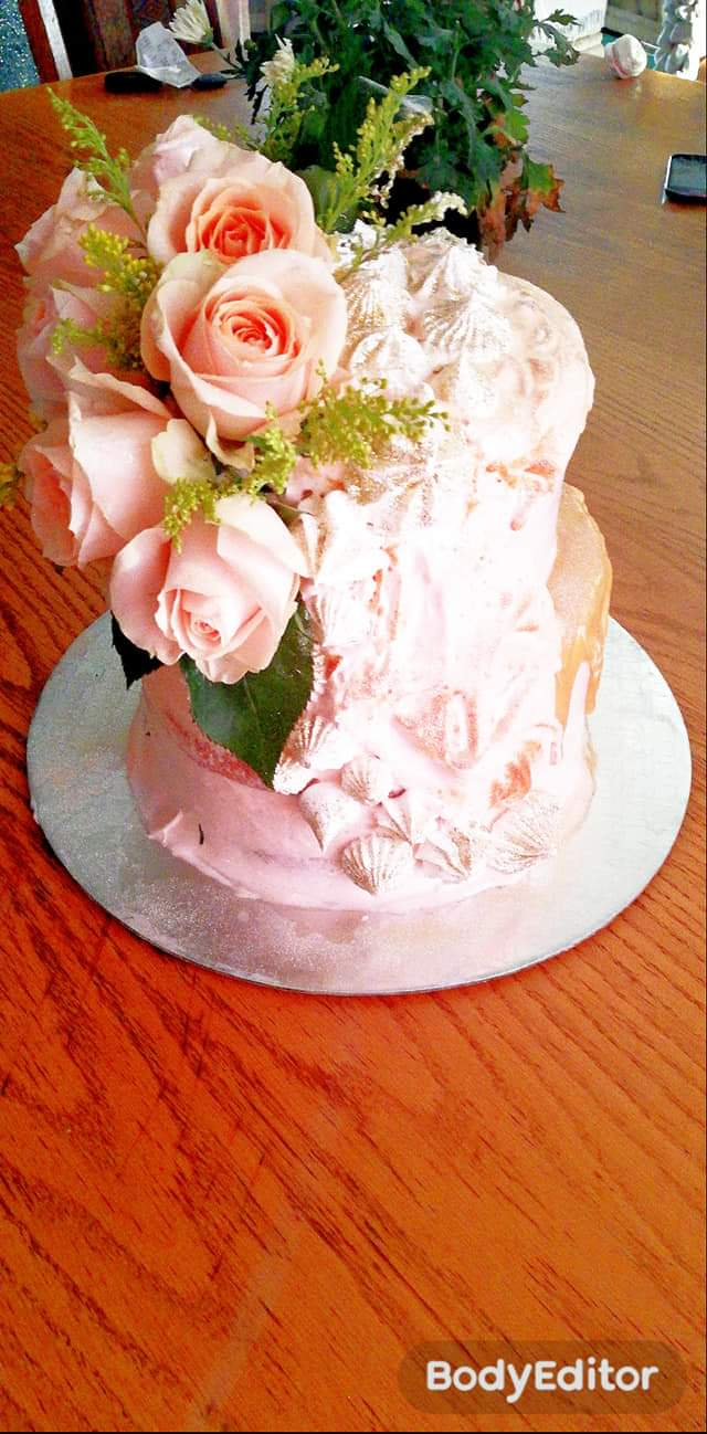 fresh peach rose cake - Serene's Delights
