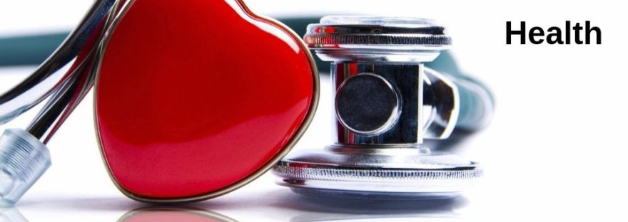 A bright red heart and a stethoscope