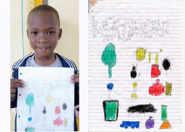 Pen Pal letters written by the children at Bethany School