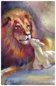 The Lion and the Lamb, original artwork by Judy Levine.