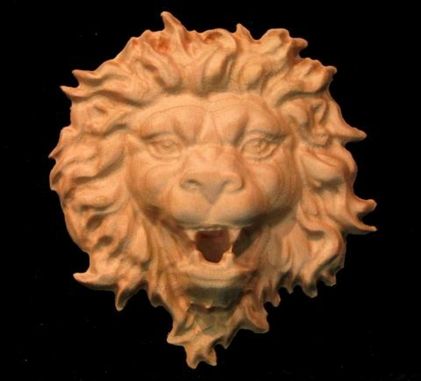 Onlay Roaring Lion Head Carved Wood