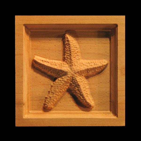 Block Starfish Carved Wood