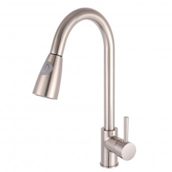 nuie kitchen sink mixer tap pull out spray brushed steel