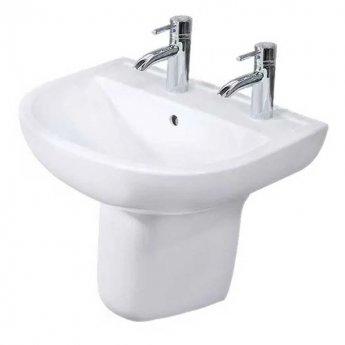 rak compact basin semi pedestal 550mm wide 2 tap hole