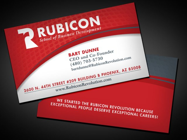 Close up of the business card