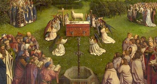Adoration of the Mystic Lamb, detail, Jan van Eyck, Ghent Altarpiece, completed 1432