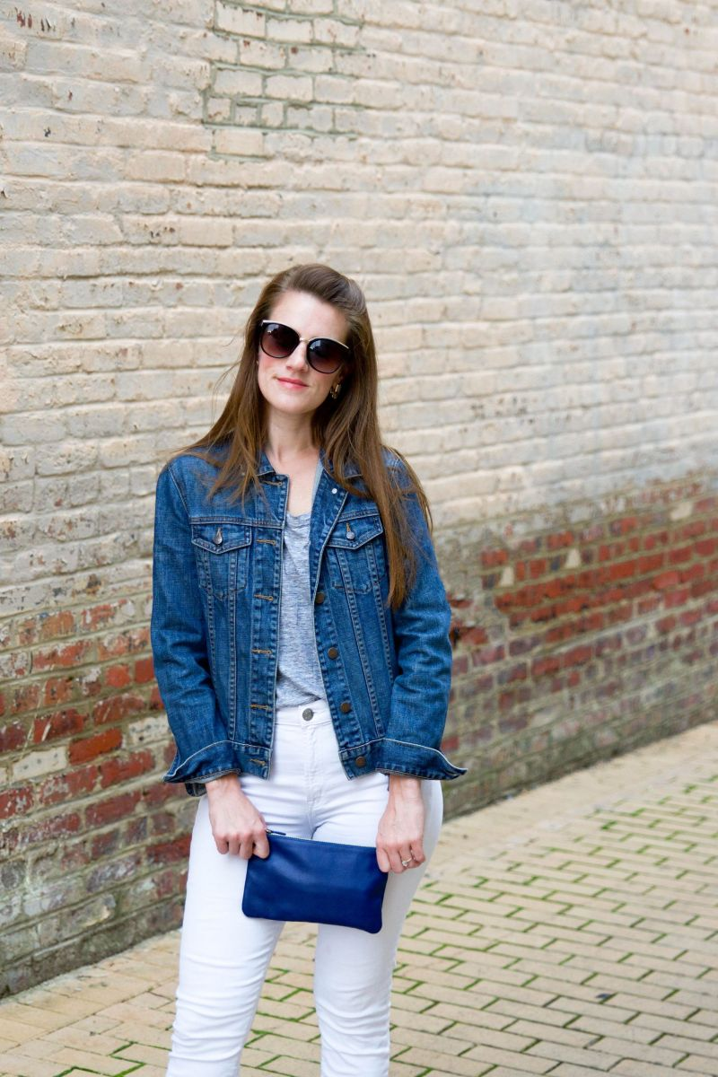 How to Wear White Jeans After Labor Day (Add Some Blue Suede Everlane Day Heels!)