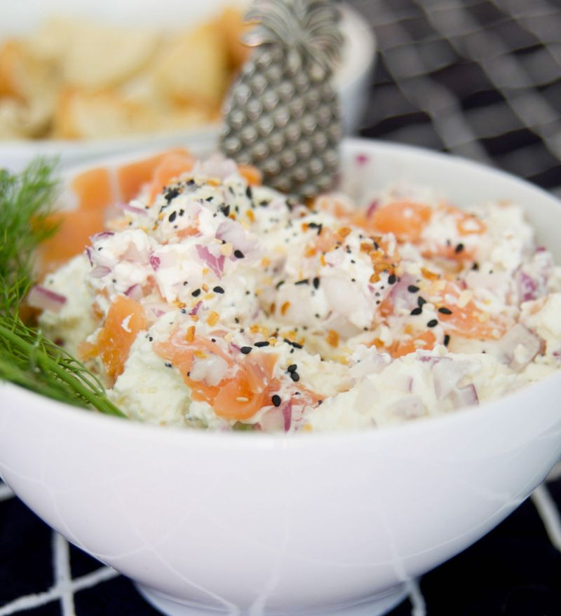 A Brunch Ready Appetizer: Bagels and Lox Dip