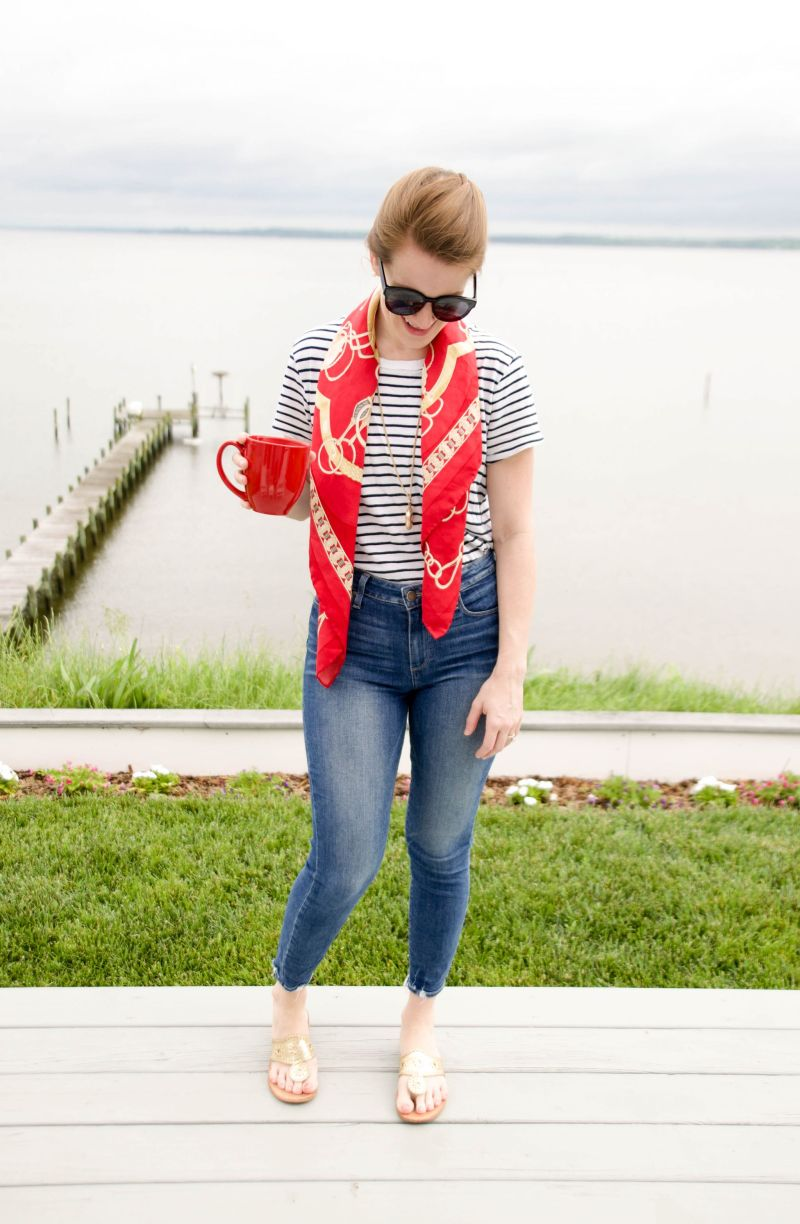 How to Dress Up a T-Shirt with a Silk Scarf