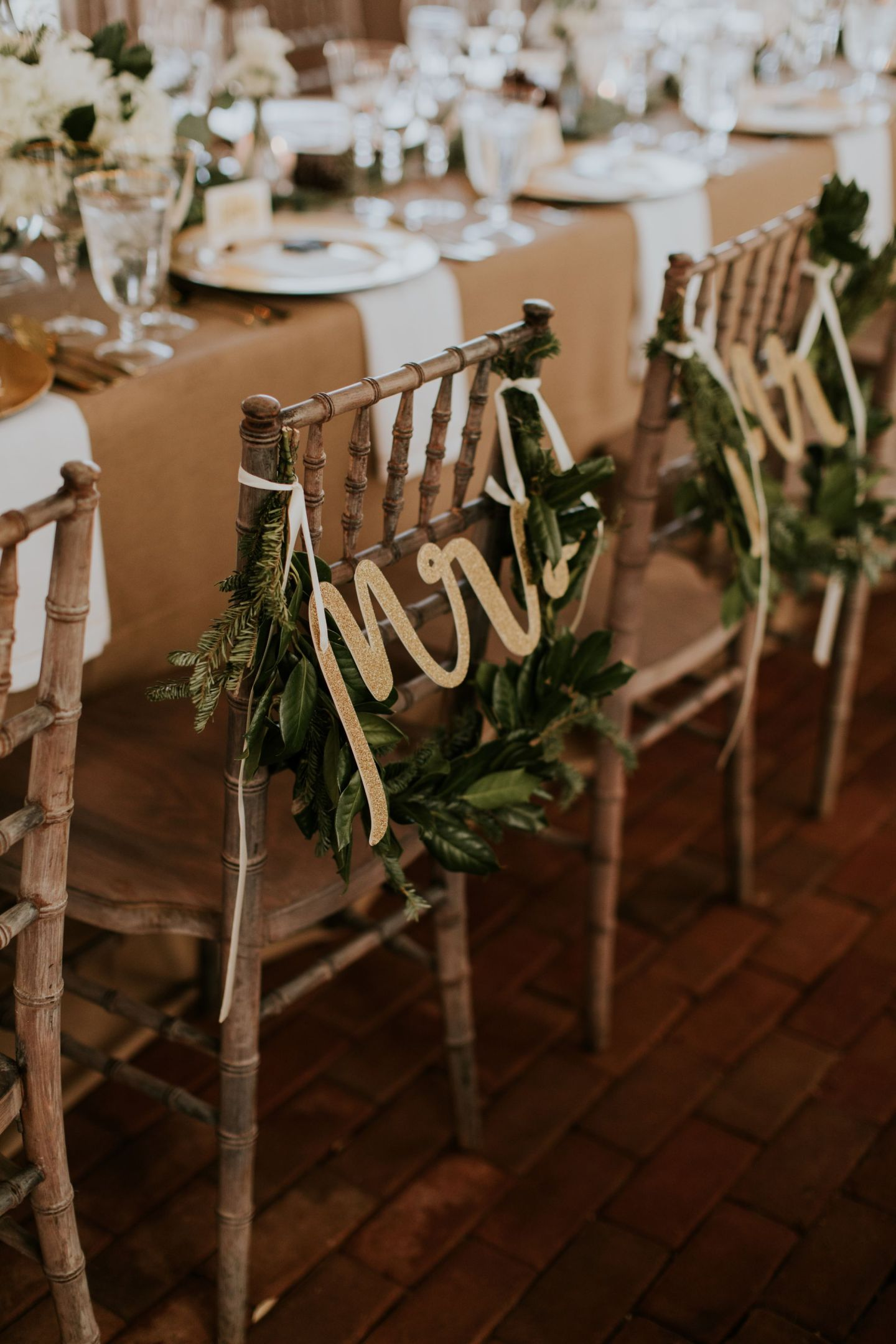 winter wedding flowers - evergreen swag wedding - evergreen garland wedding - mr. and mrs. signs