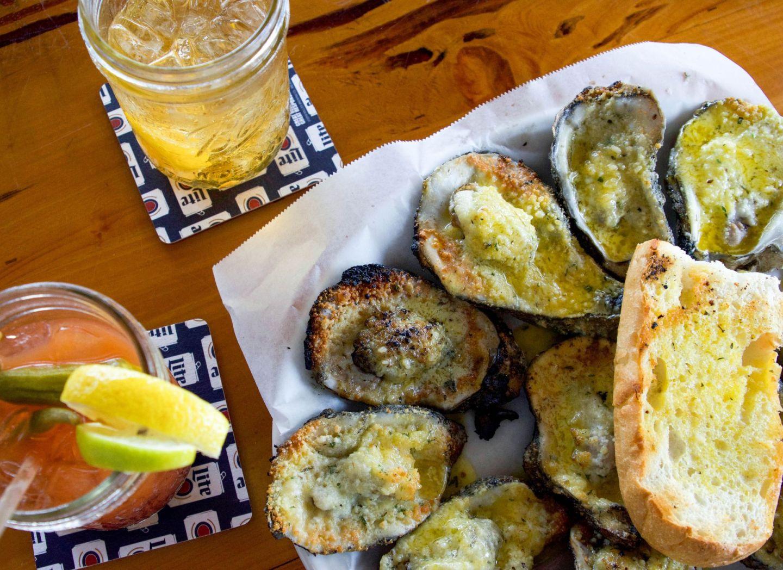 weekend on gulf coast of alabama - mobile bay - mobile alabama - bluegill restaurant - flaming oysters