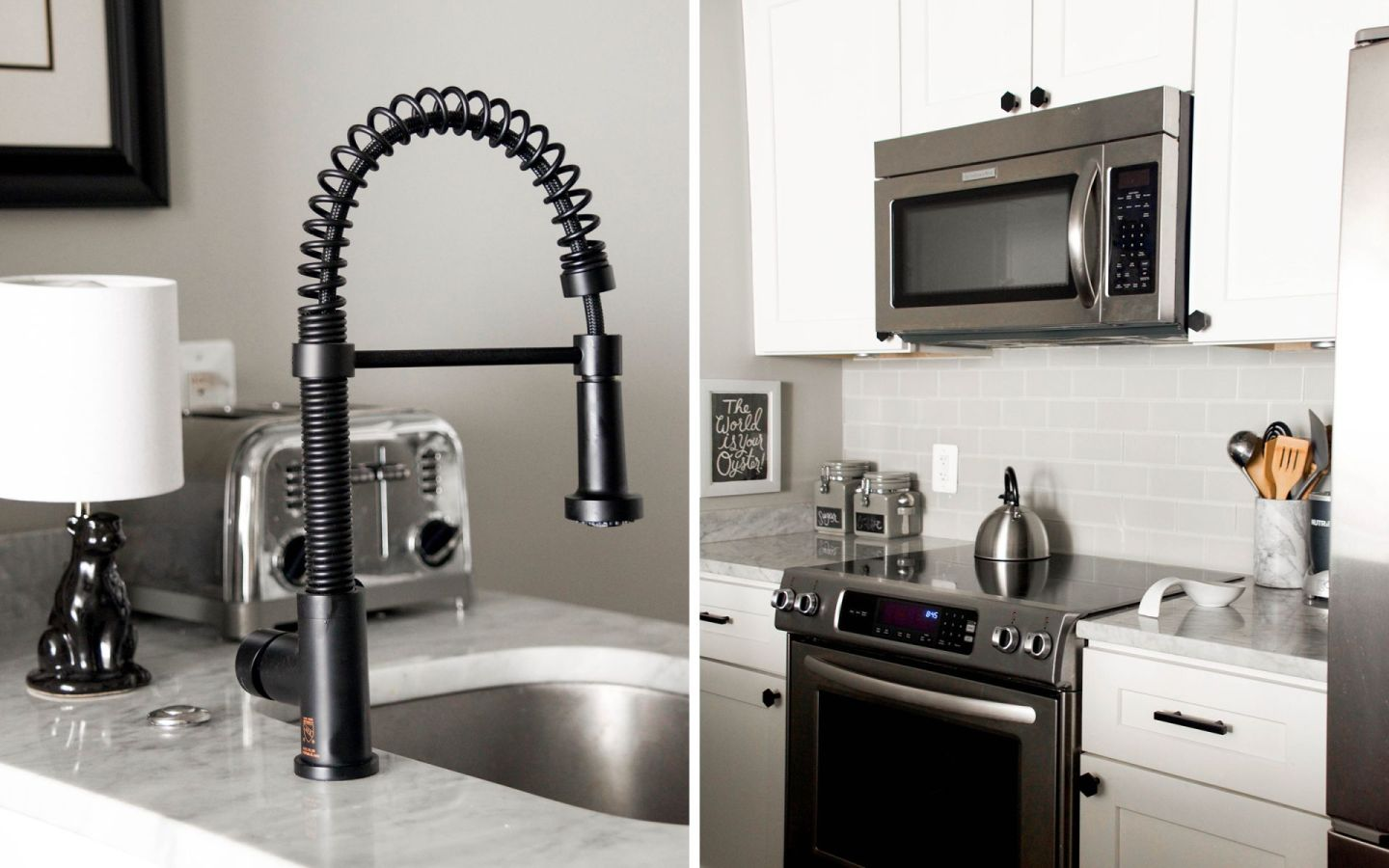 cb2 cabinet hardware - cb2 hex knob - update kitchen hardware - black vigo edison kitchen faucet
