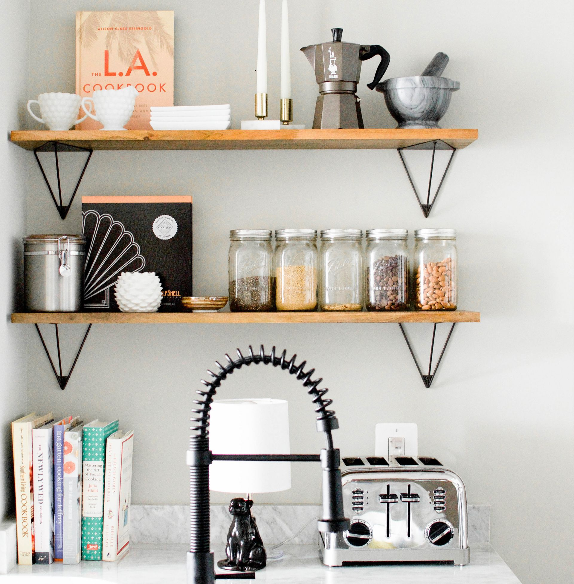 Create More Kitchen Storage Install Open Shelving Above The Sink Heather Bien