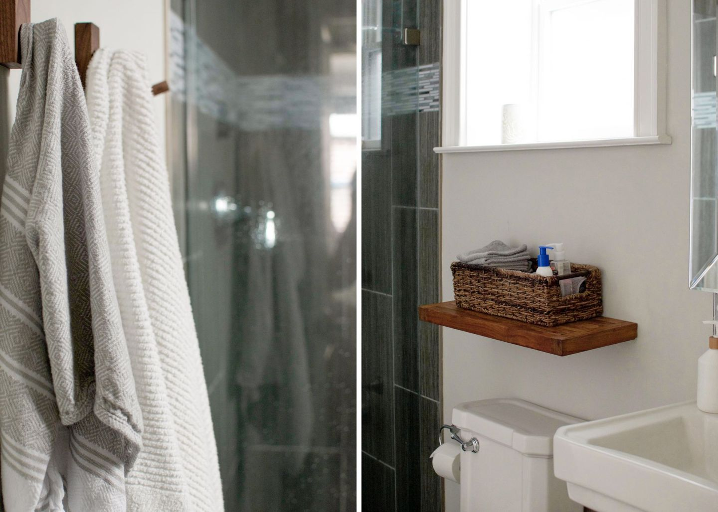 spa into bathroom - wooden bathroom hooks - spa bathroom - spa bathroom on a budget -diy bathroom hacks