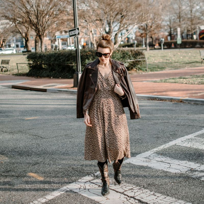 Date Night Look: Why I Love a Leather Jacket With a Dress