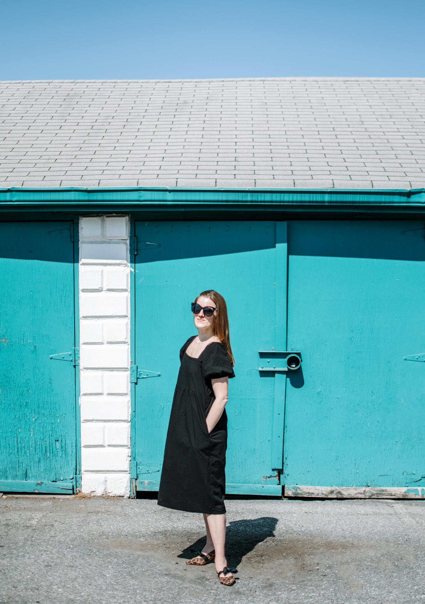 black nap dress dupe - $30 nap dress dupe - black swiss dot dress - target short puff sleeve dress