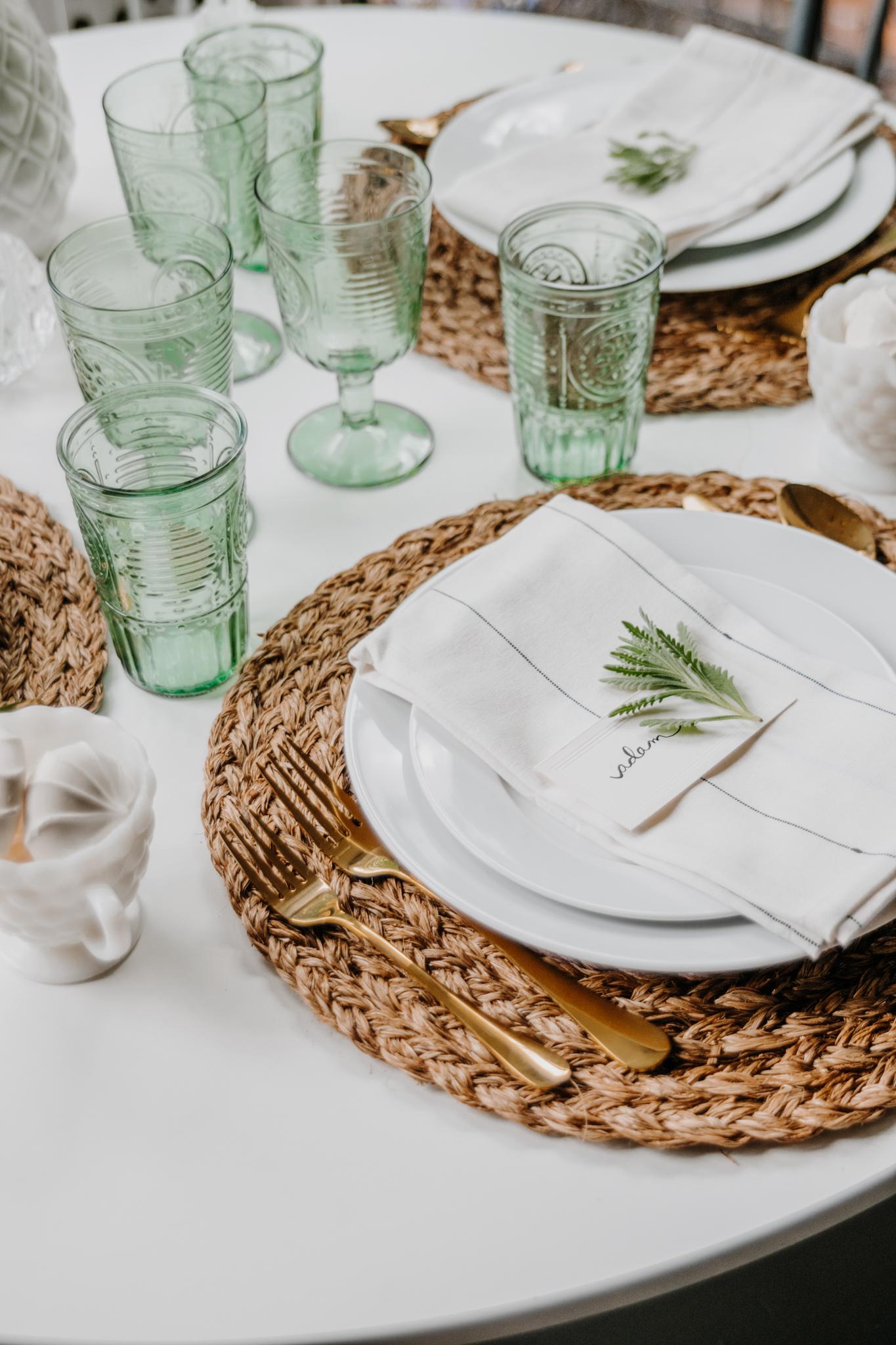 romantic green glassware - vintage green glassware - spring tablescape