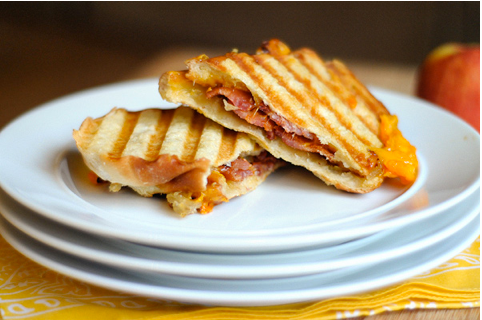 Grilled Apple Jam, Cheddar and Bacon Panini
