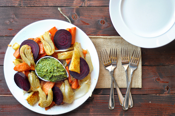 chili-roasted-root-vegetables-with-poblano-pesto