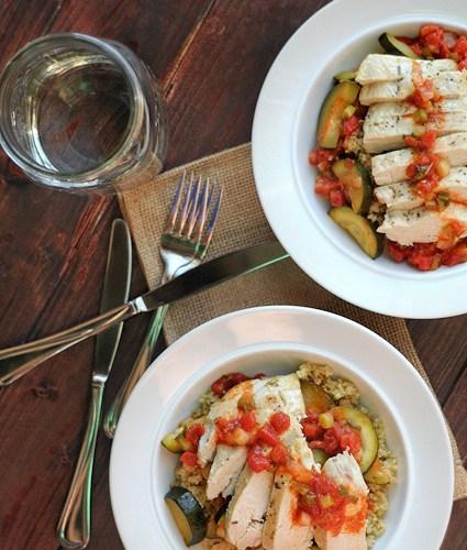 Mediterranean Zucchini, Tomato and Chicken Skillet