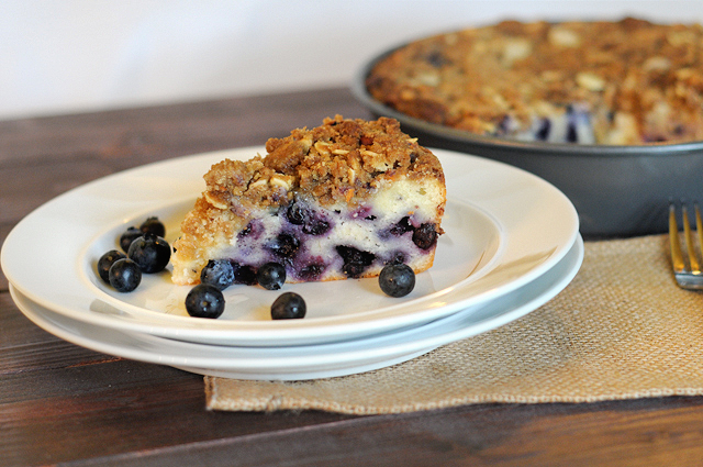Blueberry Coffee Cake with Brown Sugar Almond Streusel || HeathersDish.com