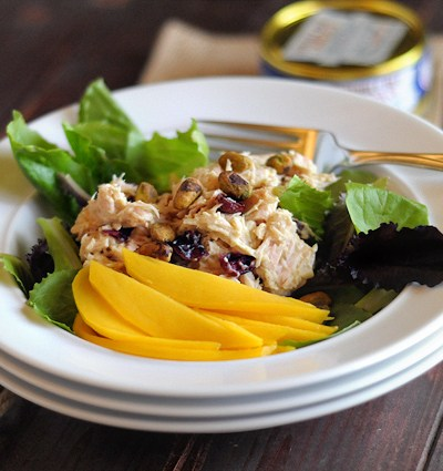 Quick Hummus, Mango and Pistachio Tuna Salad