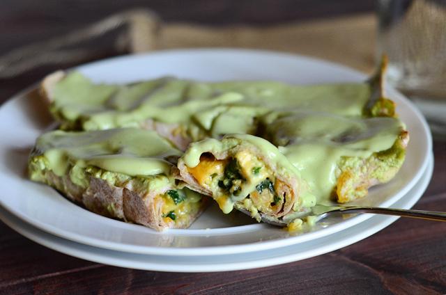 Chicken, Zucchini and Spinach Enchiladas with Skinny Avocado Cream Sauce || HeathersDish.com
