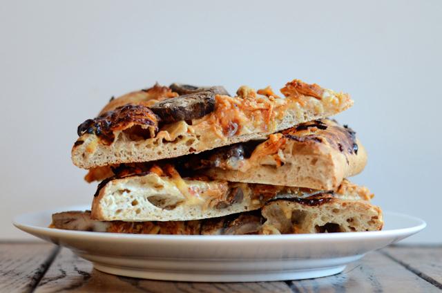 Cheesy Marinara Shredded Chicken Pizza    HeathersDish.com