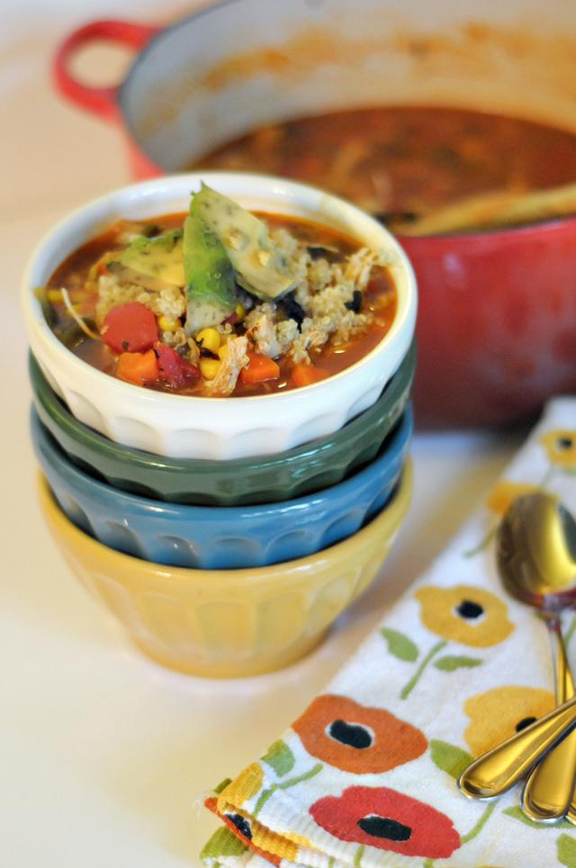 Roasted Poblano, Chicken and Quinoa Soup || HeathersDish.com