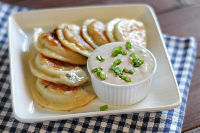 Seared Garlic Butter Pierogi with Creamy Dill Dip || HeathersDish.com