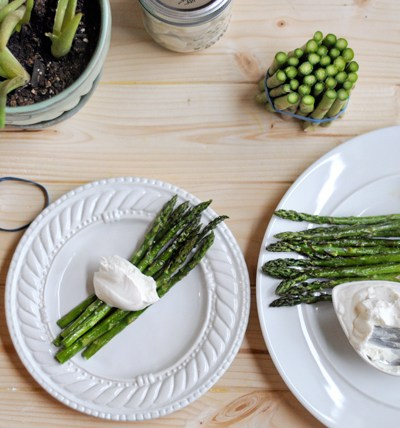 Broiled Asparagus with Whipped Goat Cheese || HeathersDish.com