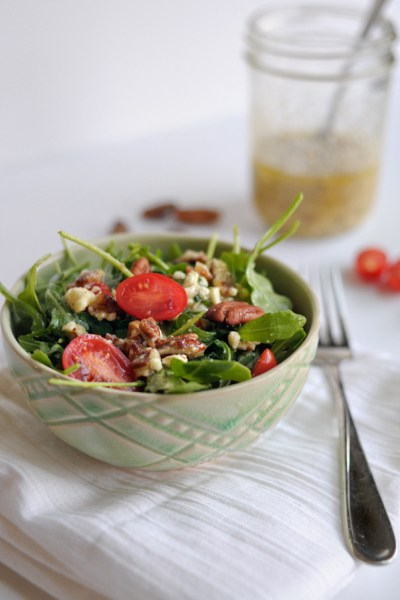 Arugula Salad with Feta-Pecan Vinaigrette