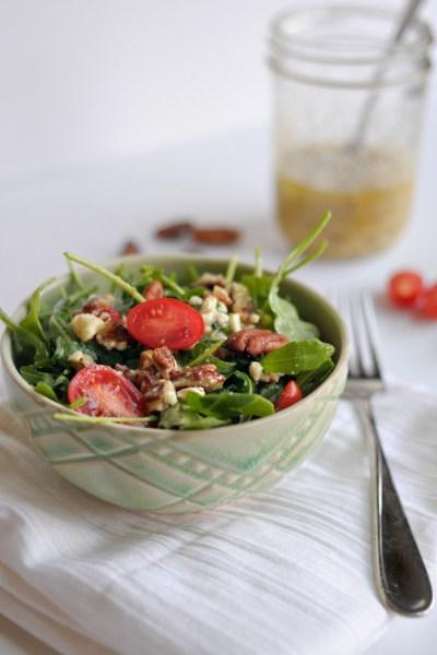 Arugula Salad with Feta-Pecan Vinaigrette