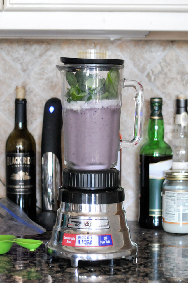 Blueberry Banana Almond Butter Smoothie || HeathersDish.com #blended