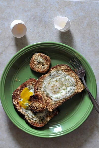 Broiled Parmesan Herb Eggs-in-a-Hole