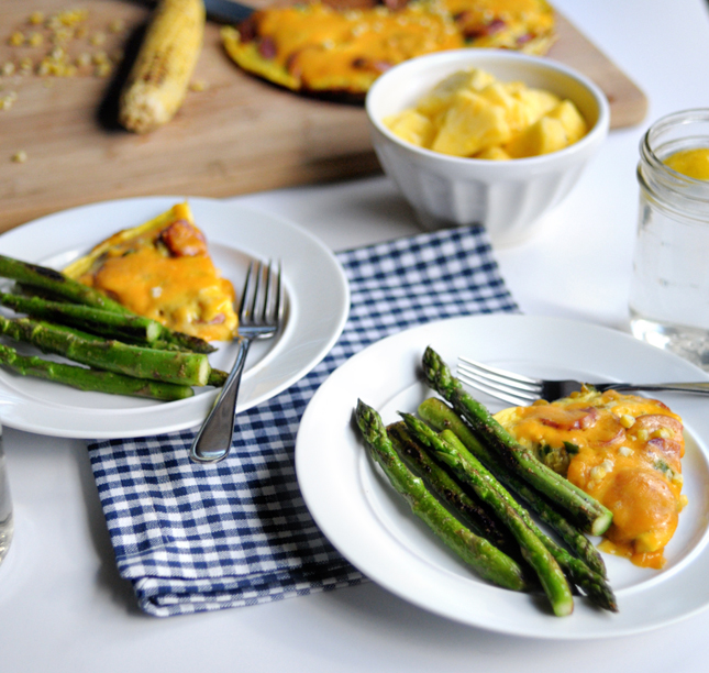 Fresh Corn and Smoked Sausage Frittata || HeathersDish.com