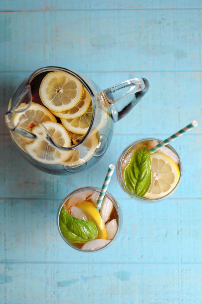 Sweet Basil Lemon Iced Tea || HeathersDish.com