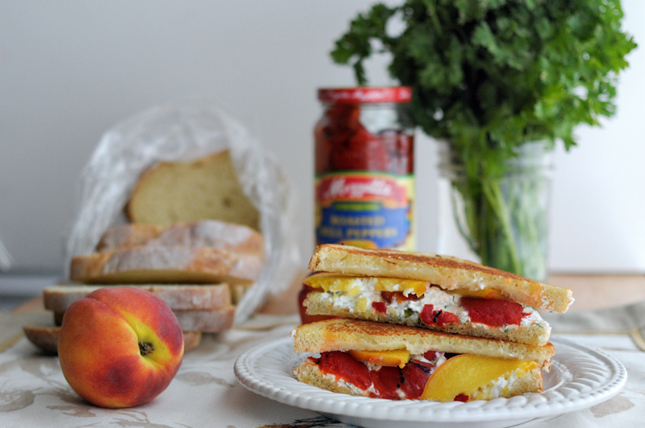 Grilled Herbed Goat Cheese, Fresh Peach + Roasted Red Pepper Sandwich || HeathersDish.com #sponsored