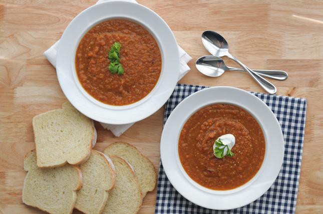 Summer Market Soup + Garlicky Greek Yogurt || HeathersDish.com