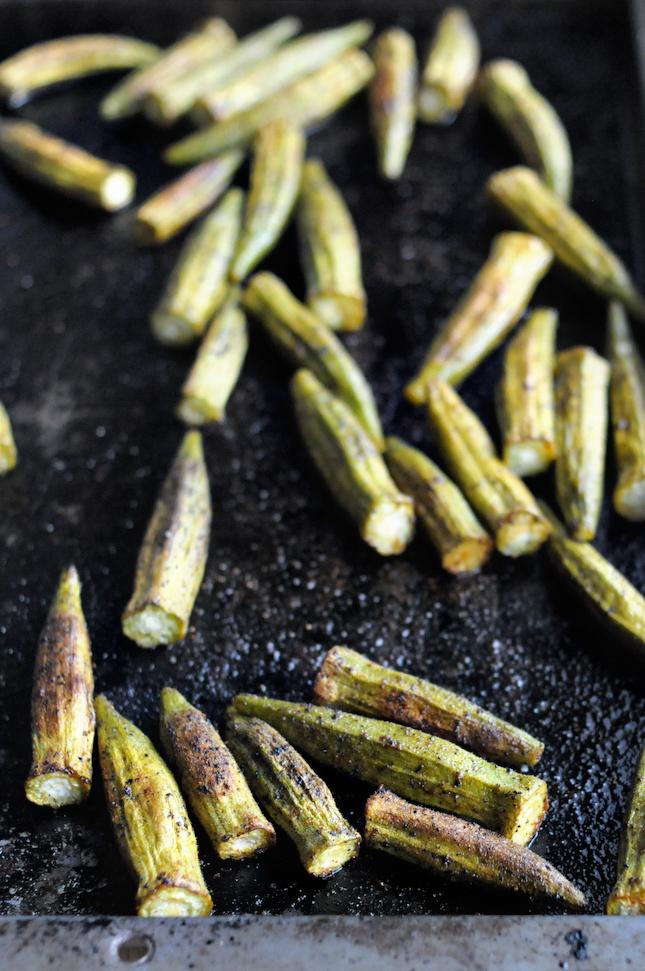 Oven-Roasted Paprika Okra || HeathersDish.com