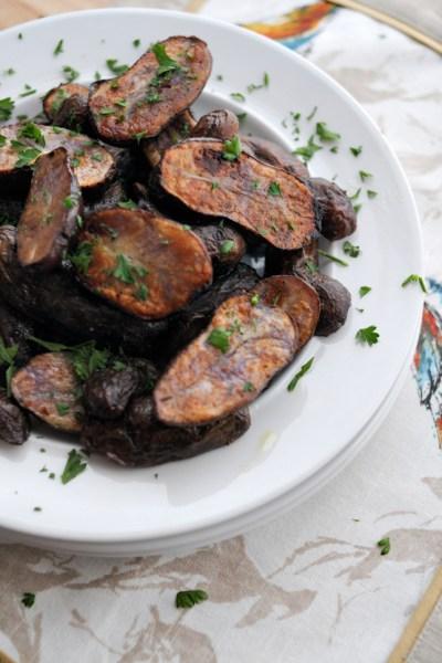 Dijon-Roasted Purple Potatoes || HeathersDish.com