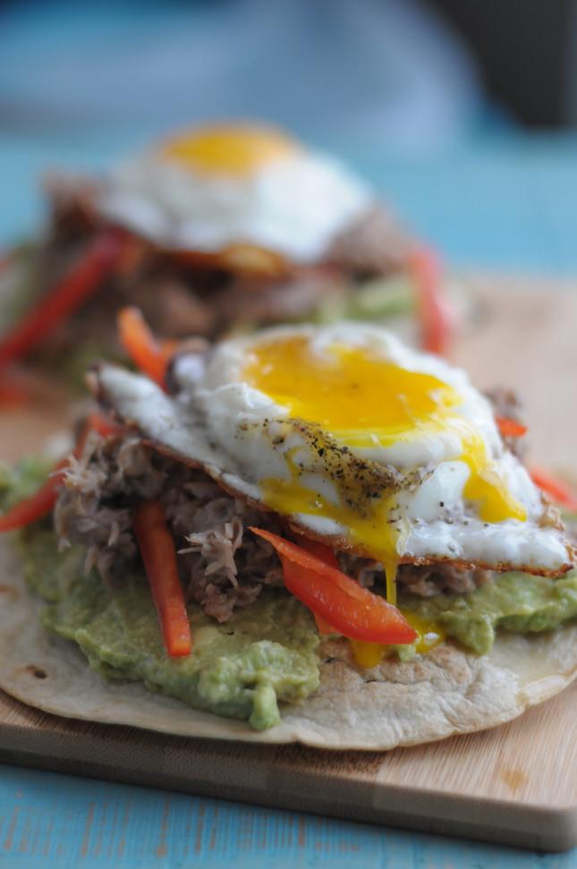 Carnitas Stacks with Crispy Eggs @lonestareggs and @heathersdish