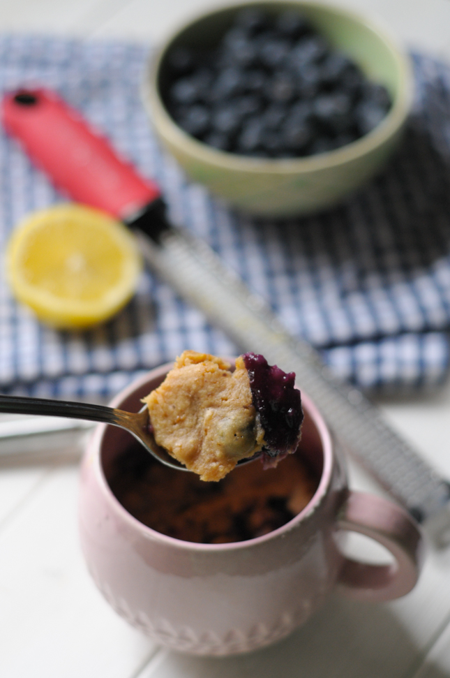 Whole Wheat Blueberry Lemon Muffin in a Mug gives you a soft, buttery muffin in minutes flat - and there's no danger of overindulging because it only serves one! @heathersdish